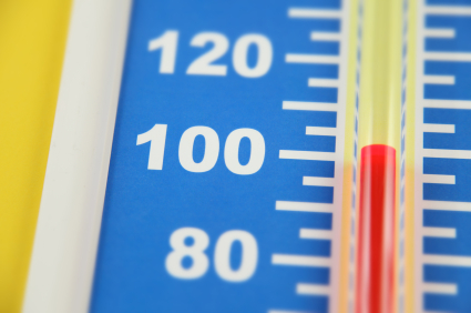 Thermometer showing rising temperatures and effect on electric bills