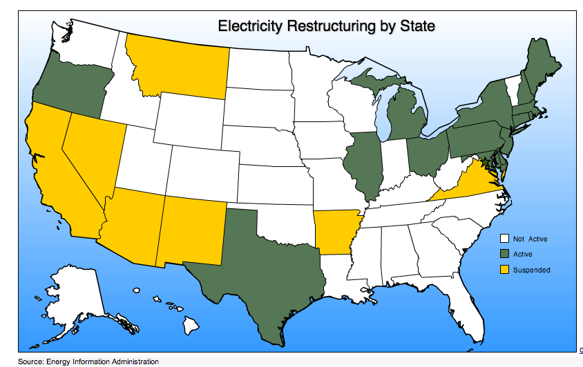 Electricity Deregulated States